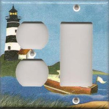 Black Lighthouse with Boat - Double Combo Outlet & GFI