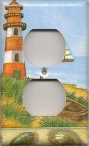 Red Lighthouse with Boats - Outlet