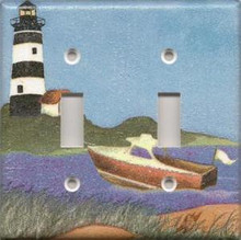 Black Lighthouse with Boat - Double Switch