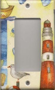 Red Lighthouse with Shells - GFI/Rocker