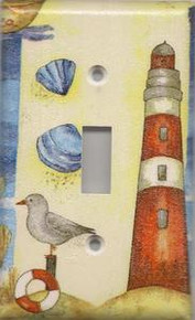 Red Lighthouse with Shells - Single Switch