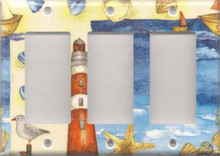 Red Lighthouse with Shells - Triple GFI/Rocker