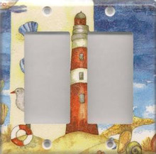 Red Lighthouse with Shells - Double GFI/Rocker
