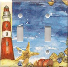 Red Lighthouse with Shells - Double Switch