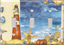 Red Lighthouse with Shells - Triple Switch