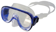 Dolphin Extra Small Fitting Single Lens Clear Silicone Mask. Blue Frame