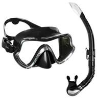 Mares Aquazone Pure Vision Black Silicone Mask & Snorkel Set.