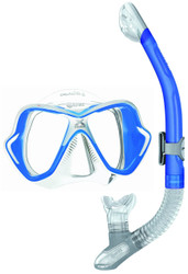 Mares X Vision Liquidskin Ergo Dry Mask & Snorkel Set. Clear, Blue Trim
