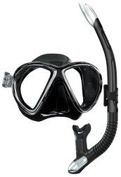 Mares X-VU Silicone Mask & Ergo Splash Purge Snorkel Set in Black