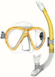 Mares X-VU Silicone Mask & Ergo Splash Purge Snorkel Set in Yellow