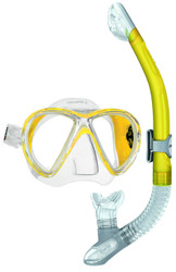 Mares X-VU Liquidskin Mask Ergo Dry Snorkel Set in Yellow