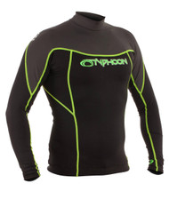 Typhoon Mens Long Sleeve Rash Vest in Black/Graphite/Lime. Size Choice