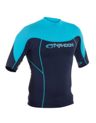 Typhoon Mens Short Sleeve Rash Vest in Navy & Light Blue. Size Choice