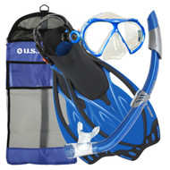 US Divers Yucatan Mask, Snorkel and Fin Set in Blue Size SM UK 4 - 7.5