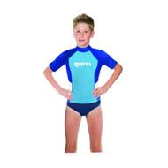 Mares Junior (Age 8 - 13) Blue Short Sleeved Rash Guard - Size choice
