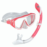 US Divers Diva LX Mask & Island Dry Snorkel Set - Pink/White