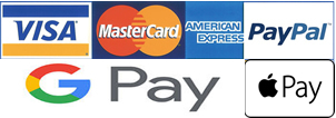 Apple Pay , Amazon Pay, Paypal , Visa, Mastercard , American Express