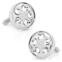 Sports Car Wheel Chrome Metal Cufflinks in gift box