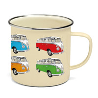 Official VW Camper Van Enamel Tin Mug - Multi-colour