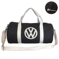 Official VW Canvas Holdall Sports Gym Bag - Black/Brown