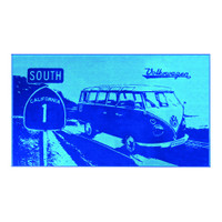 Official VW Camper Van Large Cotton Beach Swimming Towel - Light / Dark Blue