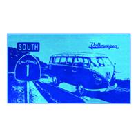 Official VW Camper Van Large Cotton Beach Swimming Towel - Light / Dark Blue