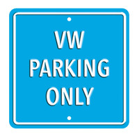 Official Volkswagen VW Metal 'Parking Only' Wall Sign - Light Blue
