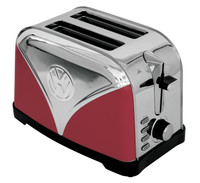 Official VW Camper Van Stainless Steel 2-Slice Bread Toaster - Red
