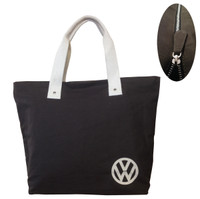 Official VW Canvas Ladies Shopping Tote Bag - Black/Brown