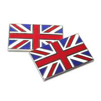 Union Jack Flag Metal Enamel Classic Car Self Adhesive Badges - set of 2