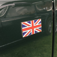 Union Jack Flag Metal Enamel Classic Car Self Adhesive Badges - set of 2