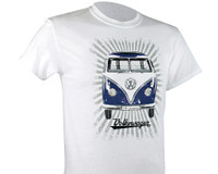 Official VW Camper Van T1 Mens White T-Shirt - Samba Stripes
