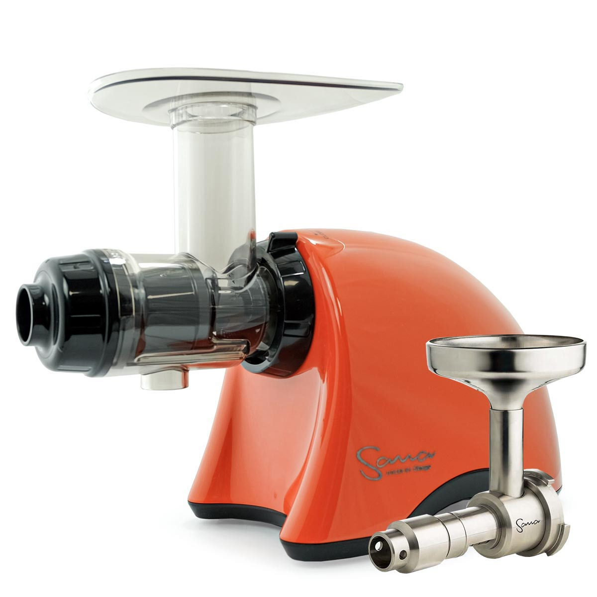 Omega Sana EUJ 707PO Juicer in Pearl Orange with Oil Attachment
