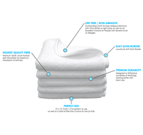 12 x 12 Ultra Fluffy Microfiber Facial Cloth with Satin Border - WHITE