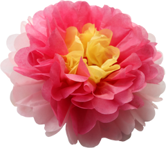 Flower pom pom, fuschia, yellow & pink, 10""