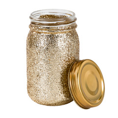 Glittery Gold Mason Jars