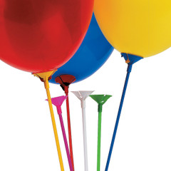 Plastic Balloon Sticks with Cup, Multi-colors