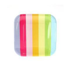 Rainbow striped plates