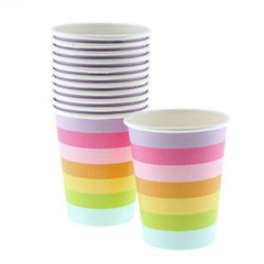 Rainbow striped cups