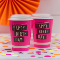 Neon Birthday Beverage Cups