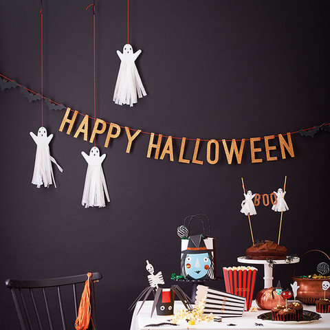 Pack includes glitter-kissed Happy Halloween sign (ghosts sold separately).
