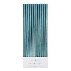 Paper Straws, Metallic Aqua Blue