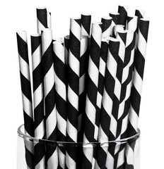 Paper Straws, Black Diagonal Stripes