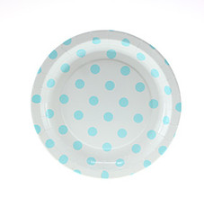 Polka Dot Plates, White with Light Blue, Dessert Size