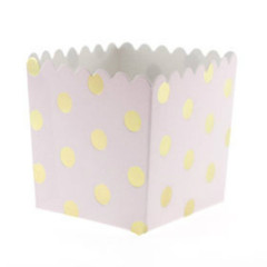Scallop Favor / Treat Box, Pink & Gold Polka Dots