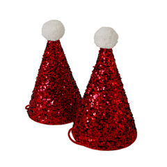 Mini Glitter Santa Hats, Red