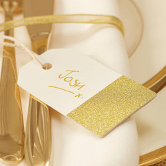 Gift Tags, Gold with White