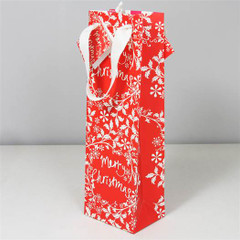 Red Wreath Bottle Gift Bag