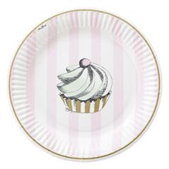 Miss Etoile Plates, Cake & Pink Stripe Dessert