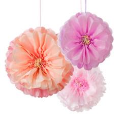 Blush Flower Pom Poms
